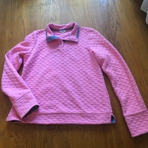 Crown and Ivy Pink Quilted Pullover Top L